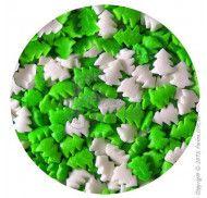 Посыпка декоративная Елочки бело-зеленые 50г фото цена