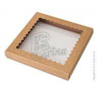 """Коробка """"Крышка - дно"""" с окошком для печенья, пряников, изделий hand made, крафт 210x210x30"""