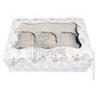 Коробка для 6-ти кексов 250x170x80 мм с окошком и принтом (мелованный картон)