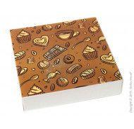 """Коробка для пирожных, пряников и др. кондитерских изделий """"Темный фон"""" 185x185x42мм"""