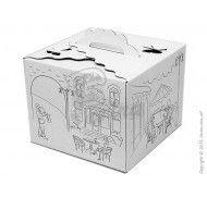 Коробка для торта Бабочка с принтом белая  250х250х200 мм