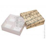 Универсальная коробка для печенья, зефира, маршмеллоу, конфет, макаронс, сувениров, типа пенал с ложементом Музыка 160x160x55 мм