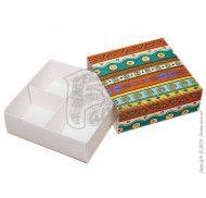 Универсальная коробка для печенья, зефира, маршмеллоу, конфет, макаронс, сувениров, типа пенал с ложементом Орнамент 160x160x55 мм