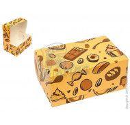 "Коробка Контейнер ""Сладости"" для десертов, пирожных, тортов 180x120x80 мм фото цена"