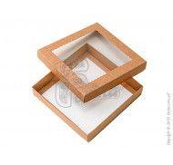 """Коробка  """"Крышка - дно"""" с прозрачным окошком для печенья  Крафт"""