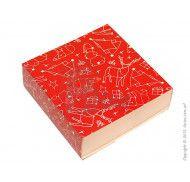 Универсальная коробка типа пенал с ложементом Зимняя красная 160x160x55 мм