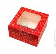 Коробка для десертов, эклеров, зефира Зимняя красная  170х170х90мм