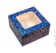 Коробка для десертов, эклеров, зефира Зимняя синяя 170х170х90мм