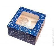Коробка на 4 кекса с окном  Зимняя синяя 170х170х90мм