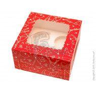 Коробка на 4 кекса с окном Зимняя красная 170х170х90мм