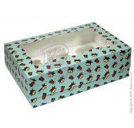 Коробка для 6-ти кексов 250*170*80 (с окошком) Новогодняя