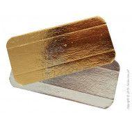 Подложка прямоугольная c бигом под эклеры золото/серебро 14х7см. фото цена