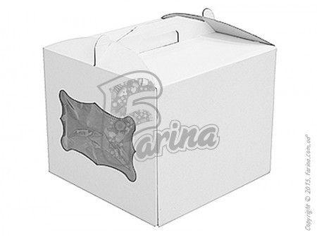 Коробка для торта с прозрачным окошком 300х300х250 мм, белая< фото цена