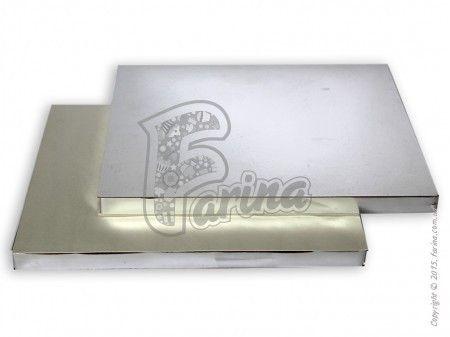 Подложка-поднос усиленная серебро/бел 300*400мм, h20мм< фото цена
