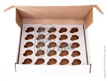 Коробка для кексов на 25 шт. 260х255х45 (30мм), белая< фото цена