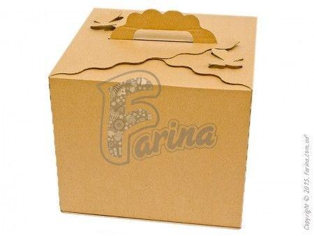 Коробка для торта с ручками  &quot;Бабочка&quot; бурая  300х300х250мм, бурая< фото цена