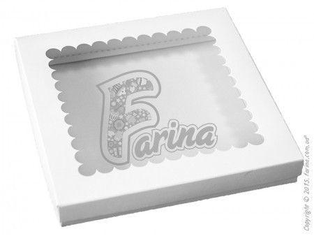 Упаковка Крышка - дно с окошком 210x210x30 мм для печенья, пряников, сувениров, мелованный картон< фото цена