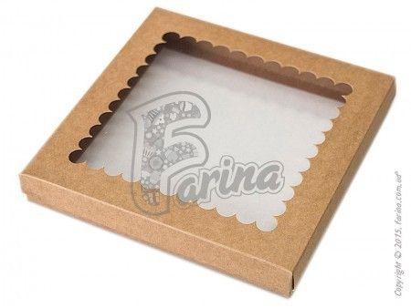 Квадратная коробка Крышка - дно с окошком 210x210x30 мм для печенья, пряников, сувениров, крафт< фото цена