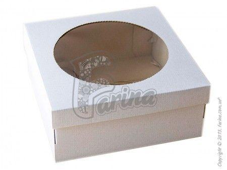 Квадратная упаковка для торта 250х250х110 с окошком, белая< фото цена
