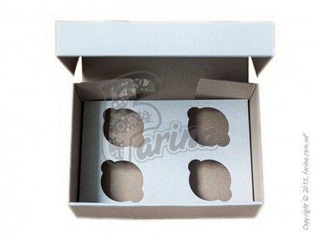 Коробка для кексов на 4 шт. 250х170х80 мм, белая< фото цена
