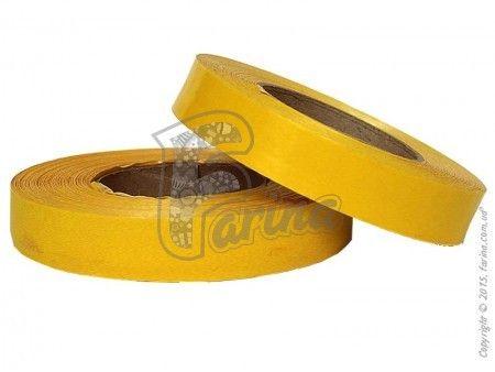 Упаковочная декоративная лента 2x100 однотонная  желтая< фото цена