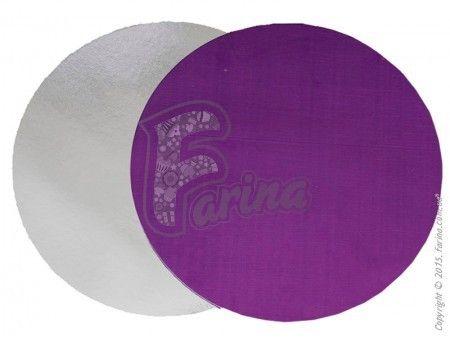 Подставка под торт  круглая, двухсторонняя   фиолетовая-серебро D28< фото цена