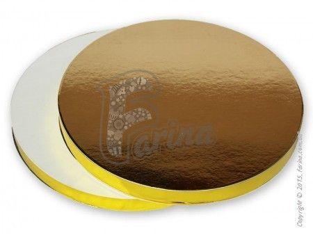 Подставка под торт плотная, двусторонняя бел/зол D26, h 2см< фото цена