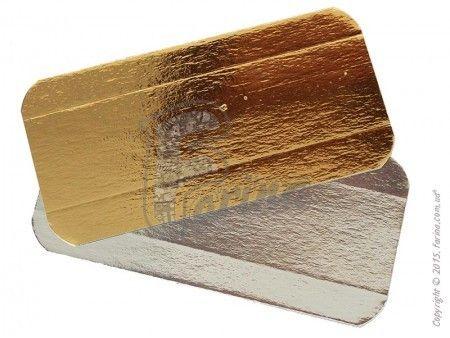 Подставка прямоугольная c бигом под эклеры золото/серебро 14х7см.< фото цена