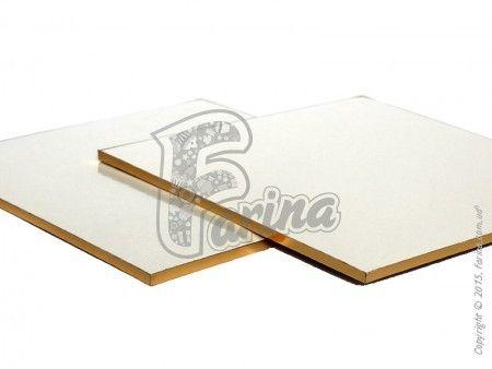 Подставка под торт плотная, двусторонняя 25x25 см бел/зол< фото цена