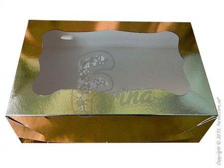 Коробка для пирожных 250*170*80 (с окошком) золото< фото цена