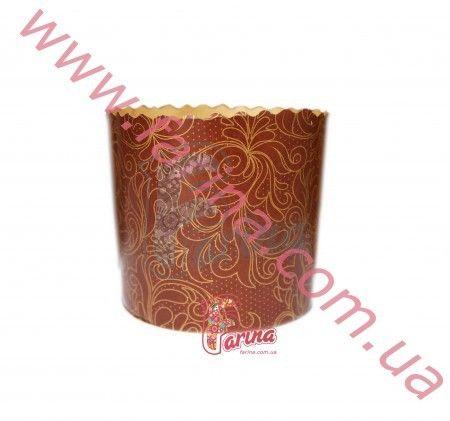 Форма для пасхи (кулича) бумажная &quot;Золотой винтаж&quot; 90x85 мм, 200 г.< фото цена