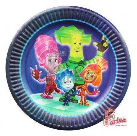 Праздничные тарелки Фиксики №2 10шт. 18см< фото цена