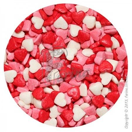 Посыпка Сердечки красно-бело-розовые 1 кг.< фото цена