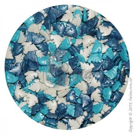 Посыпка декоративная перламутровые Голуби бело-сине-голубые 1 кг.< фото цена