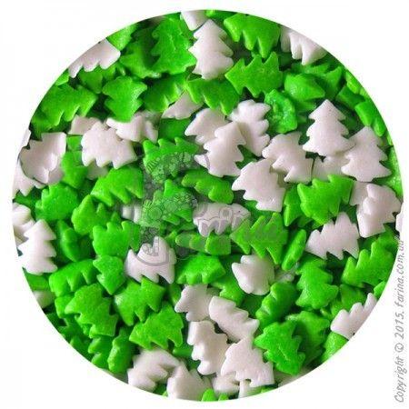 Посыпка декоративная Елочки бело-зеленые 1 кг.< фото цена