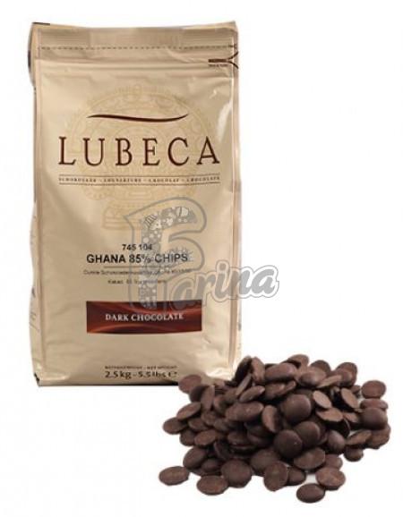 Шоколад темний кувертюр Lubeca GHANA 85 % в виде калет 1 кг< фото цена