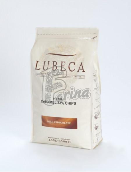 Шоколад молочный кувертюр с карамельным вкусом Lubeca CARAMEL 33% в виде калет 2,5 кг< фото цена