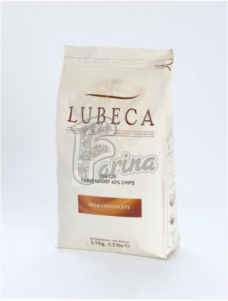 Шоколад молочный кувертюр Lubeca TIMMENDORF 42% в виде калет 2,5 кг< фото цена