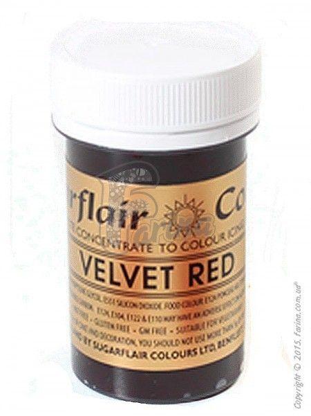 Краситель пастообразный пищевой SugarFlair extra Velvet Red бархатно-красный 25г.< фото цена