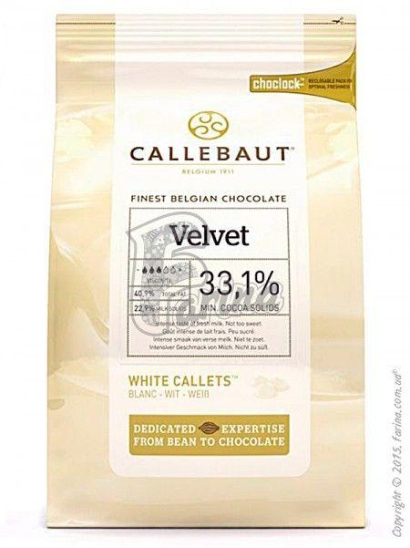 "Шоколад белый ""Callebaut Velvet"" 33.1 % какао, каллеты 10 кг< фото цена"