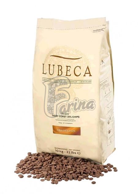 Шоколад молочный кувертюр Lubeca IVORY COAST 35% в виде калет 200г< фото цена