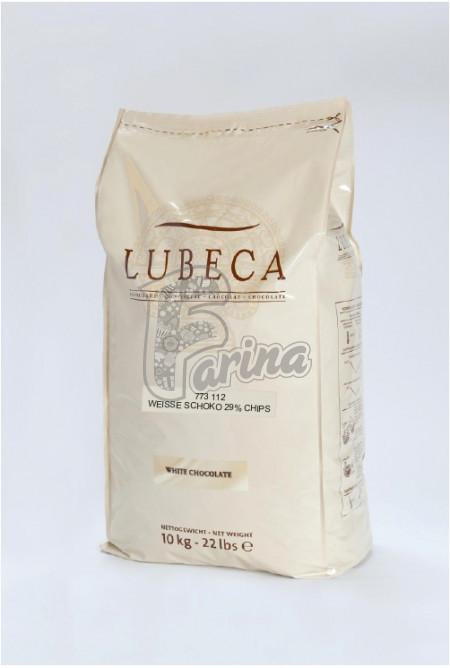 Шоколад белый Lubeca 29% в виде калет 200г< фото цена